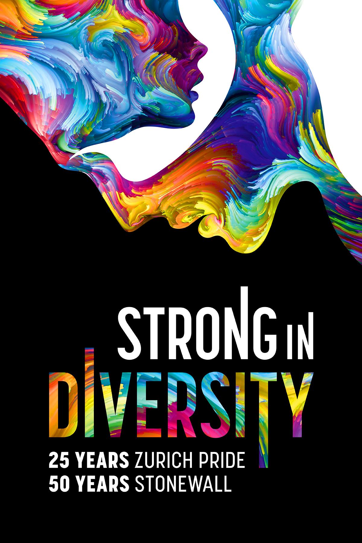 Farbige Gesichter mit Motto Strong in Diversity 2019